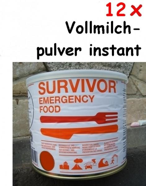 12 x SURVIVOR® Emergency Food Vollmilchpulver instant
