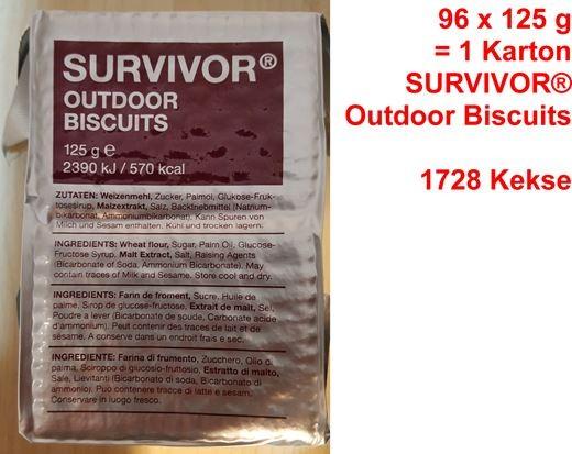 Survivor Outdoor Biscuits bzw. Outdoor Kekse (Karton mit 96 x 125 g)