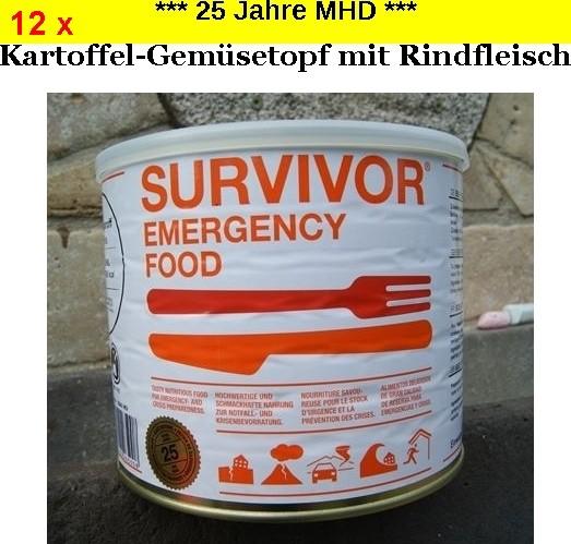 12 x SURVIVOR® Emergency Food Kartoffel-Gemüsetopf mit Rindfleisch