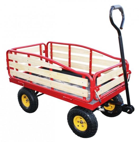 Handwagen Magnum bis 200 kg - aus Kieferholz und Metall (Gerätewagen) mit Volligummibereifung