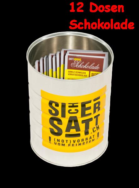 SicherSatt Notvorrat Schokolade 120 x 100 g (12 Dosen)