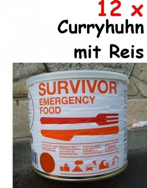 12 x SURVIVOR® Emergency Food CURRYHUHN mit Reis