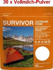 30 x Survivor® Outdoor Food Voll-Milch-Pulver instant