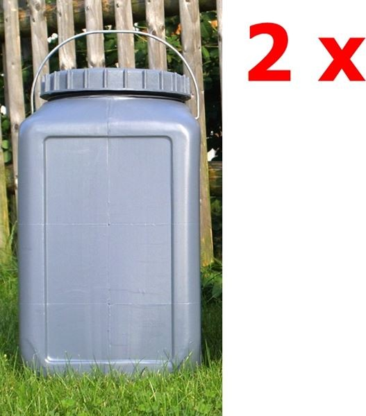 2 x BasicNature Eckige Weithalstonne 30 Liter