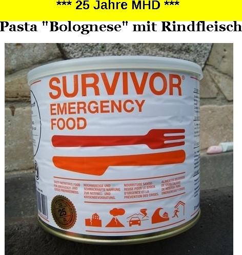 """1 x SURVIVOR® Emergency Food PASTA """"BOLOGNESE"""" mit Rindfleisch"""