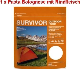 1 x Survivor® Outdoor Food Pasta Bolognese mit Rindfleisch