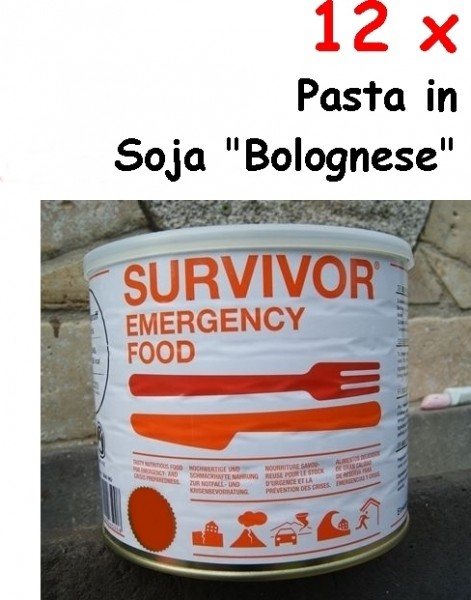 "12 x SURVIVOR® Emergency Food PASTA in Soja ""Bolognese"""