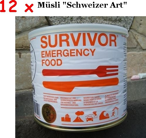 12 x SURVIVOR® Emergency Food MÜSLI schweizer Art