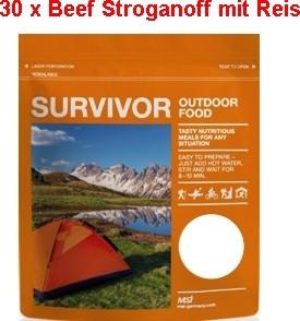 30 x Survivor® Outdoor Food Beef Stroganoff