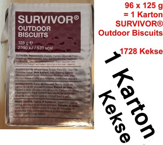 Survivor Outdoor Biscuits bzw. Outdoor Kekse (Karton mit 96 x 125 g)