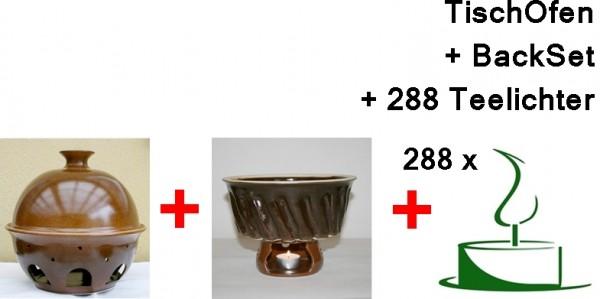 Tischofen gross mit Backset und 288 Teelichtern
