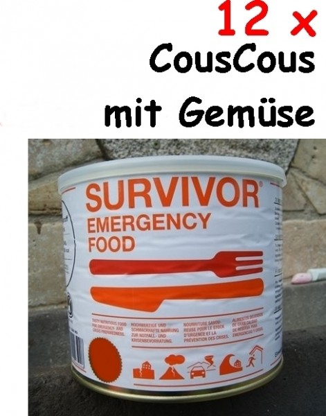 12 x SURVIVOR® Emergency Food COUSCOUS mit Gemüse
