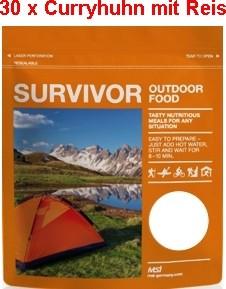 30 x Survivor® Outdoor Food Curryhuhn mit Reis
