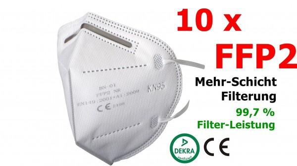 10 x FFP2 Atemschutzmaske – MIT CE-Zertifikat und DEKRA-Zulassung