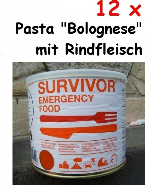 """12 x SURVIVOR® Emergency Food Pasta """"Bolognese"""" mit Rindfleisch"""
