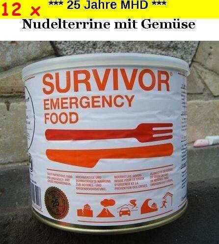 12 x SURVIVOR® Emergency Food NUDELTERRINE mit Gemüse