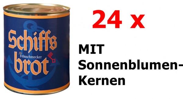 24 Dosen Schiffsbrot Roggen-Vollkornbrot MIT Sonnenblumenkernen
