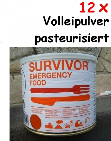12 x SURVIVOR® Emergency Food Volleipulver pasteurisiert