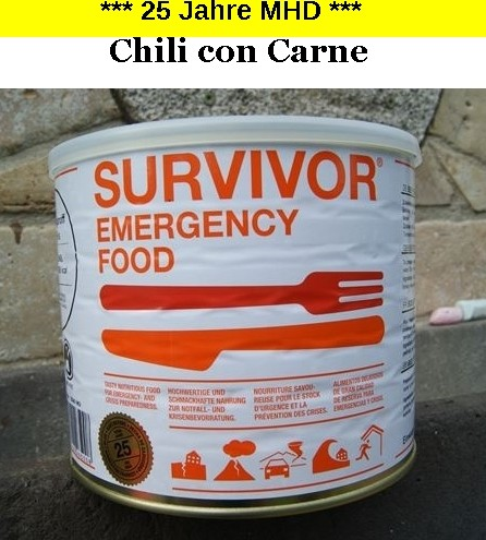 1 x SURVIVOR® Emergency Food CHILI con CARNE
