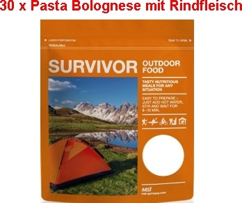 30 x Survivor® Outdoor Food Pasta Bolognese mit Rindfleisch