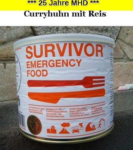 1 x SURVIVOR® Emergency Food CURRYHUHN mit Reis