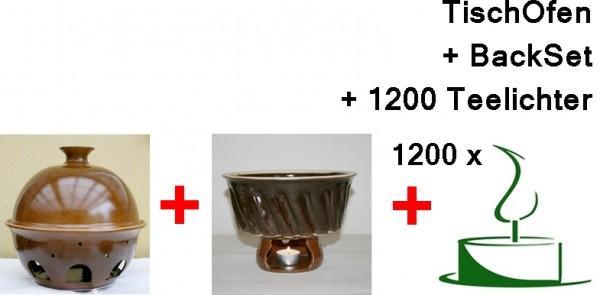 Tischofen gross mit Backset und 1200 Teelichtern