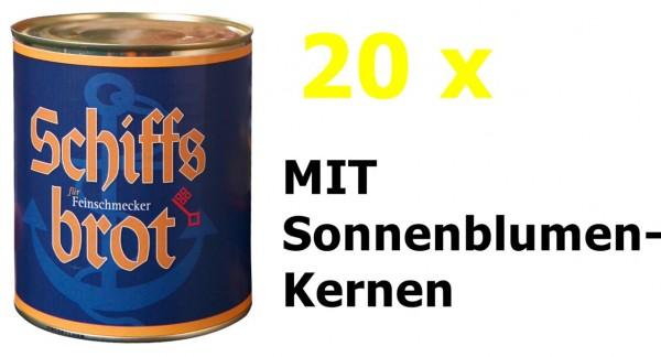 20 Dosen Schiffsbrot Roggen-Vollkornbrot MIT Sonnenblumenkernen