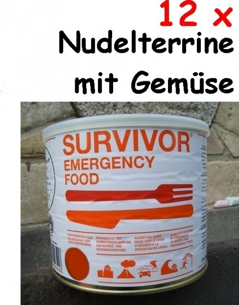 12 x SURVIVOR® Emergency Food NUDELTERRINE mit Gemüse
