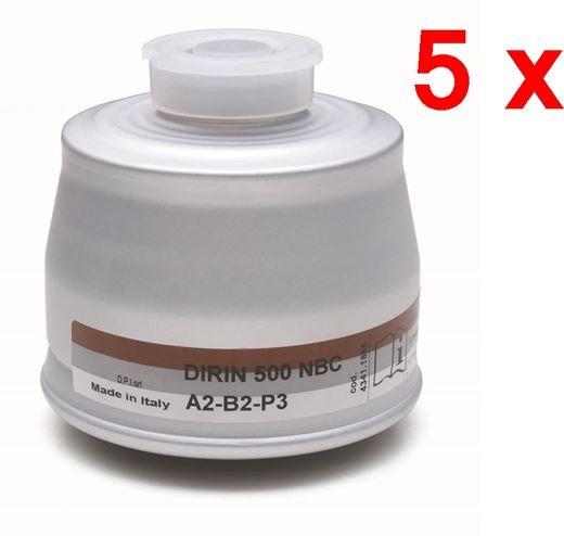 5 x Mehrbereichs-Kombifilter DIRIN 500 A2B2-P3R D NBC