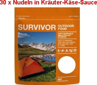 30 x Survivor® Outdoor Food Nudeln in Käse-Kräutersauce