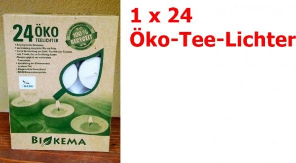 BIOKEMA Öko-Teelichter MIT Hülle 24 Stück