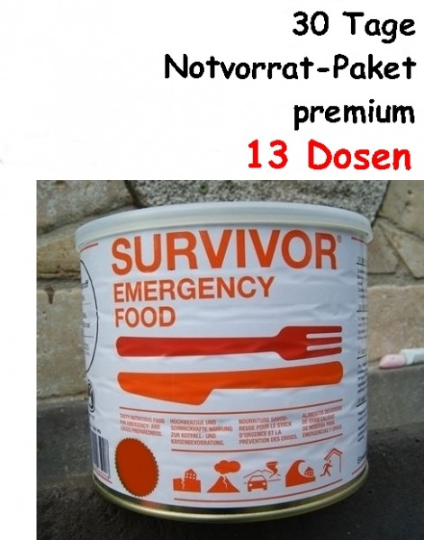 SURVIVOR Emergency Food 30 Tage Notvorrat-Paket premium