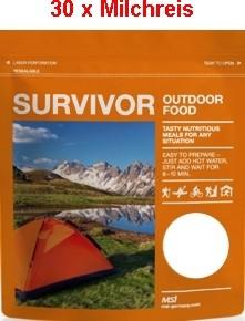 30 x Survivor® Outdoor Food Milchreis mit Sultaninen