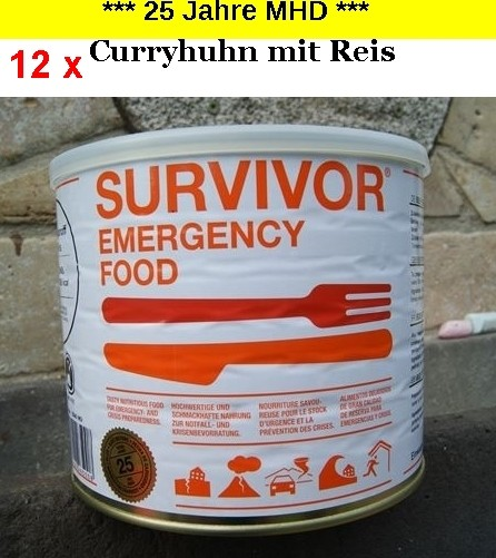 12 x SURVIVOR® Emergency Food CURRYHUHN mit Reis