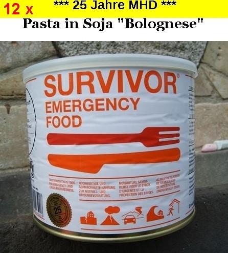 "12 x SURVIVOR® Emergency Food PASTA in Soja ""Bolognese"""