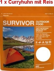 1 x Survivor® Outdoor Food Curryhuhn mit Reis