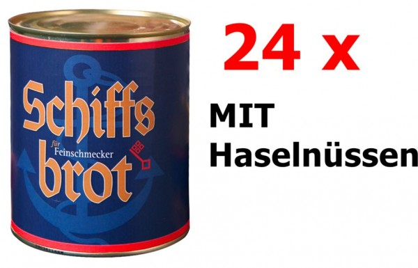 24 Dosen Schiffsbrot Roggen-Vollkornbrot MIT Haselnüssen