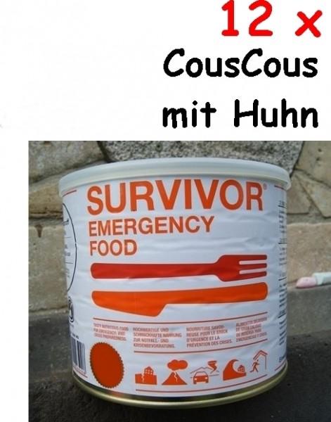 12 x SURVIVOR® Emergency Food CousCous mit Huhn
