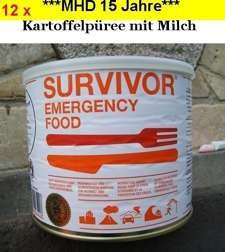 12 x SURVIVOR® Emergency Food KARTOFFELPÜREE mit Milch