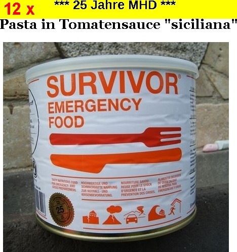 "12 x SURVIVOR® Emergency Food PASTA in Tomatensauce ""Siciliana"""