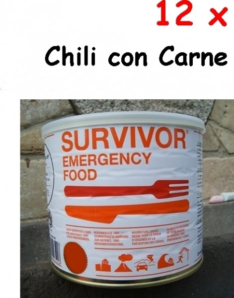 12 x SURVIVOR® Emergency Food Chili Con Carne