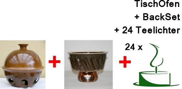 Tischofen gross mit Backset und 24 Teelichtern