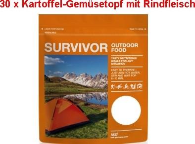 30 x Survivor® Outdoor Food Kartoffel-Gemüsetopf mit Rindfleisch