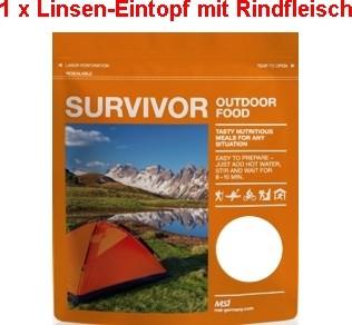 1 x Survivor® Outdoor Food Linseneintopf mit Rindfleisch